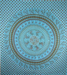 Turquoise Elephants & Birds Tapestry