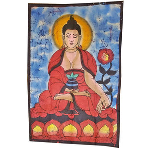 Blue Buddha Calling the Earth to Witness Mudra Enlightenment Double Sided Banner | Wild Lotus® | @wildlotusbrand