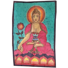 Load image into Gallery viewer, Green Buddha Calling the Earth to Witness Mudra Enlightenment Double Sided Banner