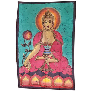 Green Buddha Calling the Earth to Witness Mudra Enlightenment Double Sided Banner