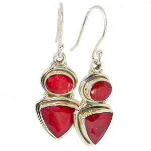Trillion and Oval Cut Natural Indian Ruby Earrings