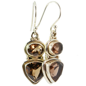 Trillion and Oval Cut Smokey Quartz Earrings