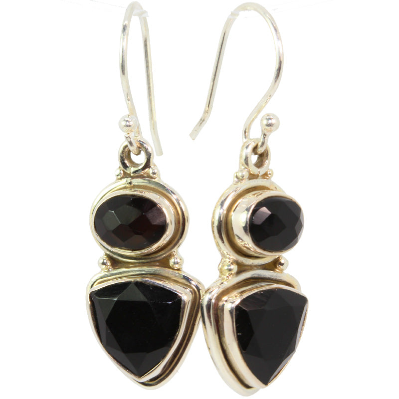 Trillion and Oval Cut Black Onyx Earrings