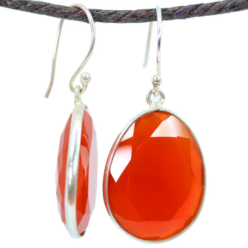 Carnelian Large Oval Earrings