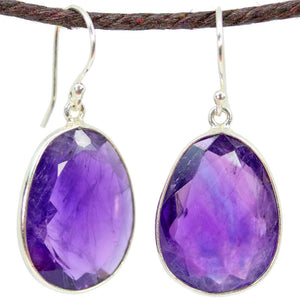 Amethyst Large Oval Earrings