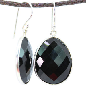Standard Black Onyx Large Oval Earrings