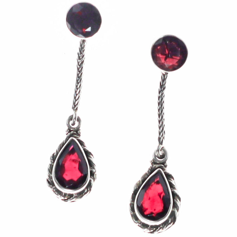 Red Fire Garnet Splendor Earrings