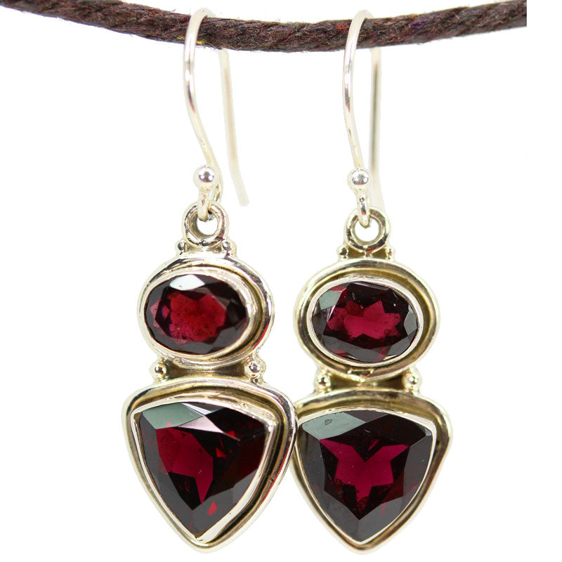 Trillion and Oval Cut Garnet Earrings