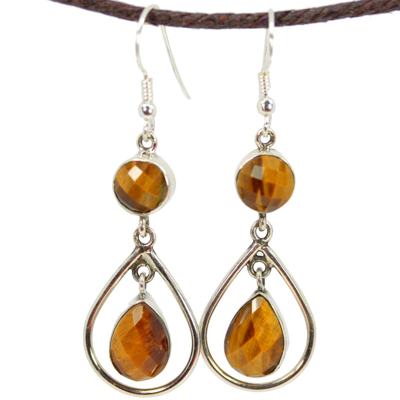 Round and Pear Shaped Tigers Eye Danglers