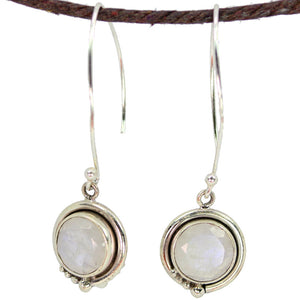 Delicate Round Moonstone Earrings
