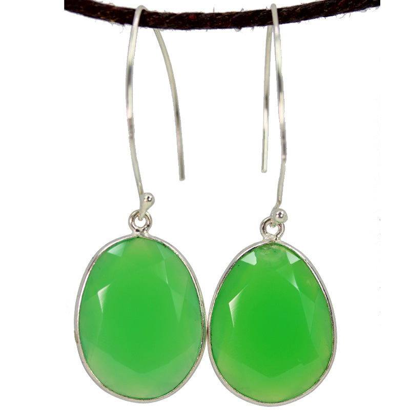 Green Chalcedony Large Oval Earrings