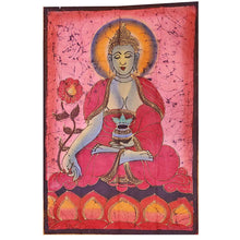 Load image into Gallery viewer, Red Buddha Calling the Earth to Witness Mudra Enlightenment Double Sided Banner