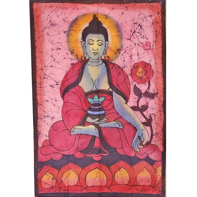 Red Buddha Calling the Earth to Witness Mudra Enlightenment Double Sided Banner
