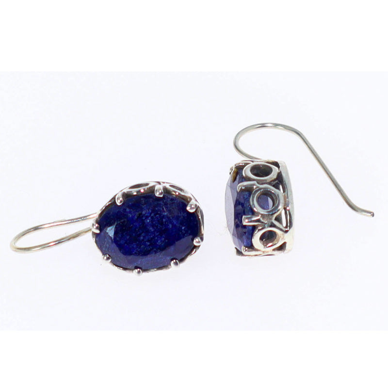 Scrollwork & Lapis Lazuli Gemstone Earrings | Sterling Silver Jewelry Collection | Wild Lotus