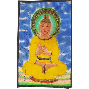 Yellow Buddha Teaching Double Lotus Position Meditation Hand Painted Wall Mural Banner | Wild Lotus®