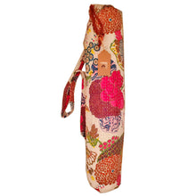 Load image into Gallery viewer, White Bohemian Kantha Quilt Cotton Fabric Yoga Mat Bag Carrier | Wild Lotus® | @wildlotusbrand