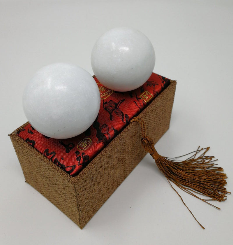 White Marble Chinese Baoding Balls Small Home Decor Accents for Shelf | Wild Lotus®