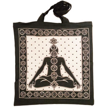 Load image into Gallery viewer, White Seven Chakras Avatar Meditation Tie Dye Market Tote Bag Canvas Graphic | Wild Lotus® | @wildlotusbrand