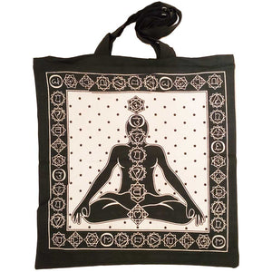 White Seven Chakras Avatar Meditation Tie Dye Market Tote Bag Canvas Graphic | Wild Lotus® | @wildlotusbrand