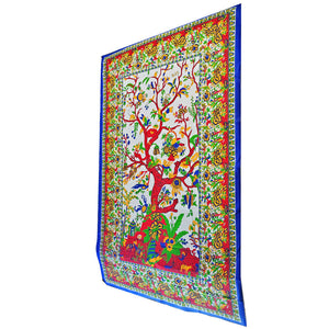 White Tree of Life Wall Decor with Birds Twin Size Tapestry | Wild Lotus® | @wildlotusbrand