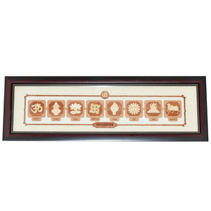 Wooden Vastu Mangal Carving Natural Wood Stain Bracket Frame