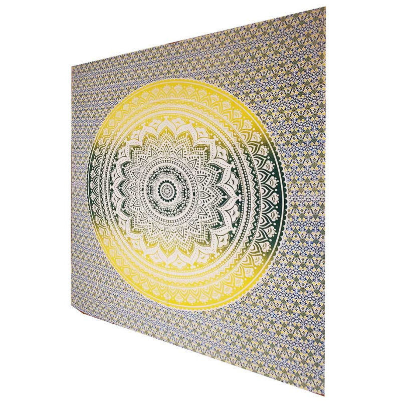 Yellow Ombre Art Pattern Full Size Sheet Tapestry Wall Hanging Decoration