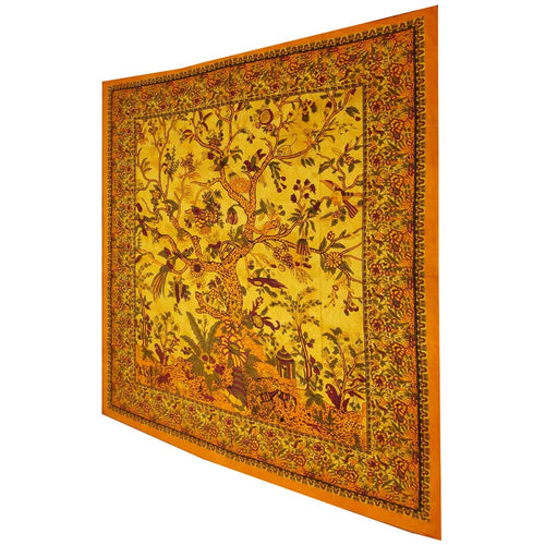 Yellow Tree of Life Birds Tapestry Colorful Indian Wall Decor | Wild Lotus® | @wildlotusbrand