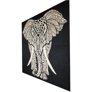 Black and White Indian Bohemian Elephant Tapestry Full Size Psychedelic Wall Hanging Decoration | Wild Lotus®
