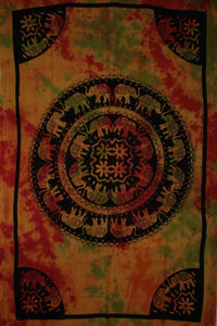 Celebration Of Elephants Rasta Mandala Tie Dye Tapestry by Wild Lotus