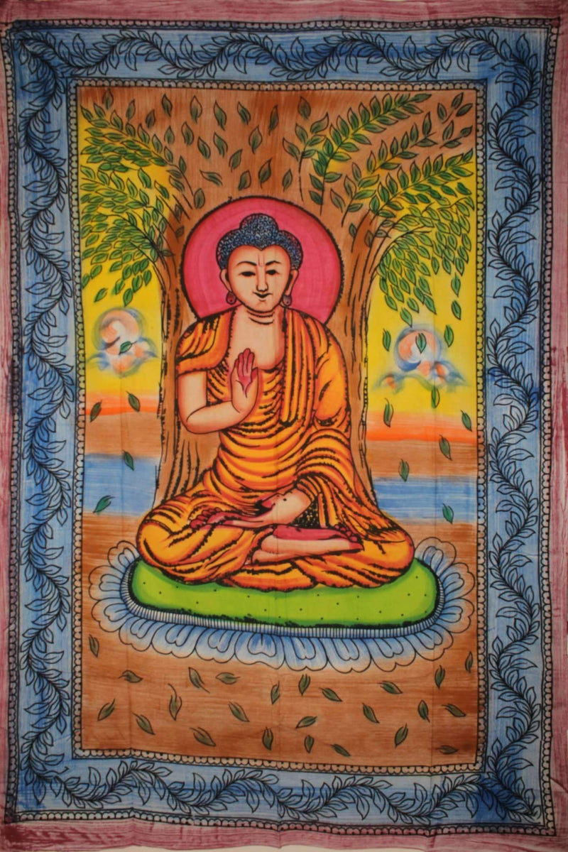 Buddha Meditating Under Bodhi Tree Tapestry