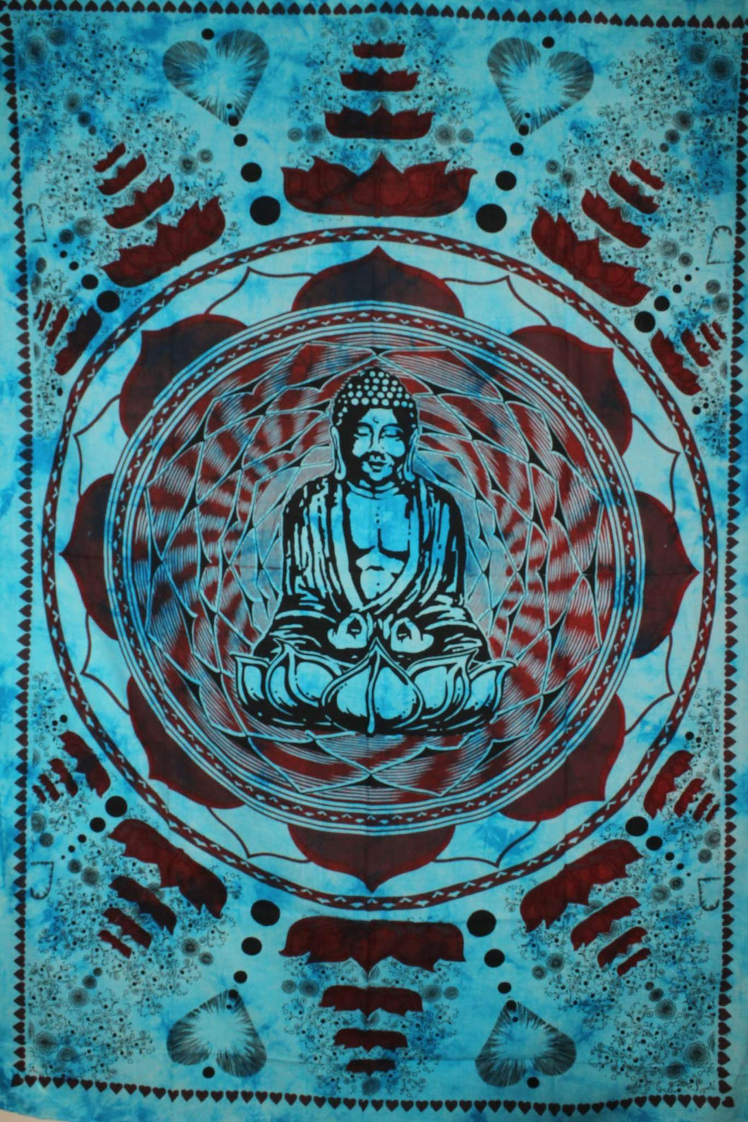 Turquoise Buddha In Dharma Chakra Mudra On A Lotus Flower Tapestry