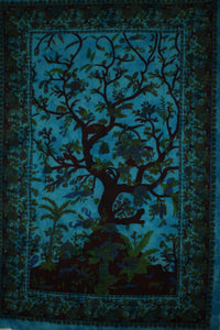 Turquoise Tree of Life Birds Tapestry