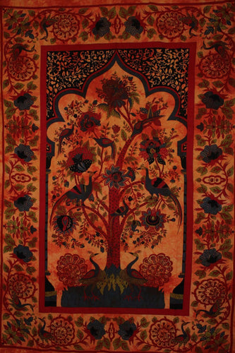 Saffron Tree of Life Peacock Tapestry