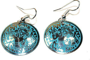 Silver Tone Turquoise Petite Carnival Elephant Danglers