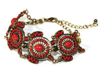 Load image into Gallery viewer, Red Colorful Bead Drop Turtle Bracelet