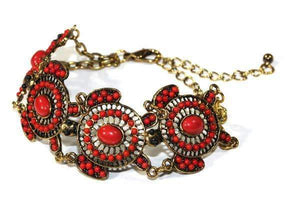 Red Colorful Bead Drop Turtle Bracelet