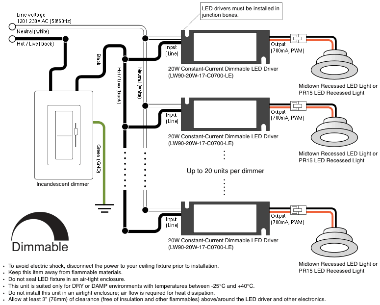 midtown 2.0 led recessed light fixture made in the usa ... wiring diagram for led driver wiring diagram for led strip light
