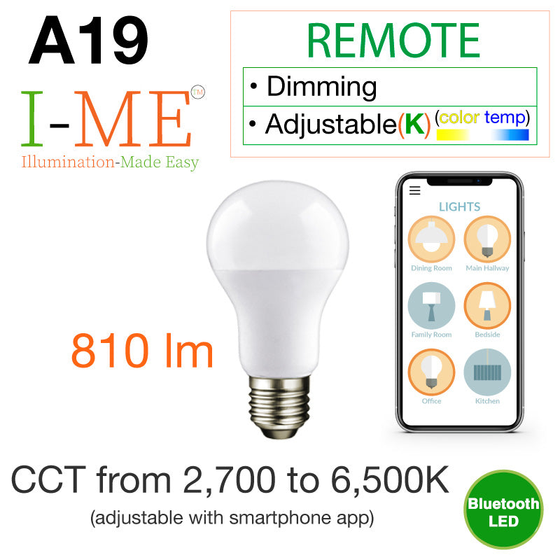 I-ME Adjustable Whites Bluetooth A19 E26 LED Light Bulb (8 Watt)