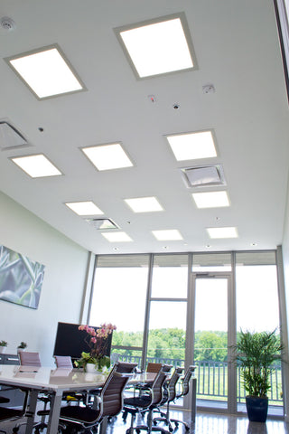 Skylight LED panels installed in an office