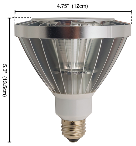 New York 3.0 PAR38 Dimmable LED Light Bulb Measurements