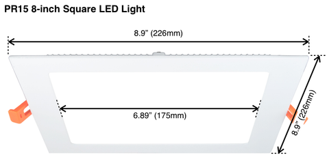 "PR15 Square Ultra-Thin 8"" LED Recessed Light"