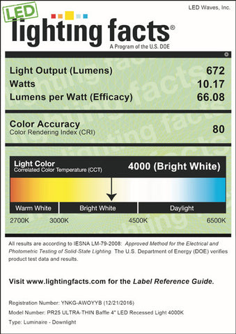 LED Lighting Facts for PR25 4-inch, 4000K