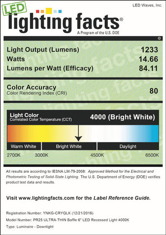 LED Lighting Facts for PR25 6-inch, 4000K