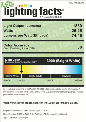 LED Lighting Facts for PR25 8-inch, 3000K