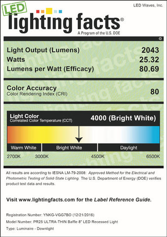 LED Lighting Facts for PR25 8-inch, 4000K
