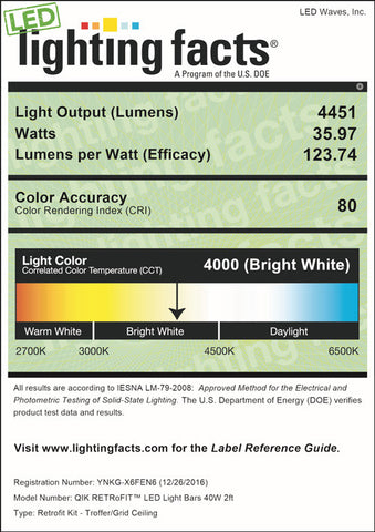 LED Lighting Facts for QIK Retrofit, 40 Watt (3x 2ft LED Bars)