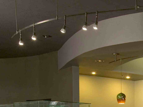 LED MR-16 bulbs used on a track lighting system in a jewelry store