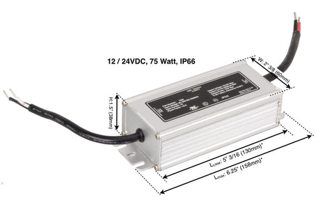 IP66 Waterproof LED Driver Power Supply (12V DC / 24V DC, 75 Watt, non-dimmable)