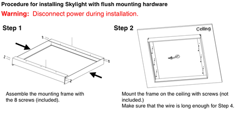 FLUSH Mounting (Extrusion Frame Kit) for Skylight LED Panel Light (1x4')