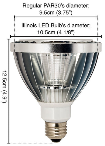 Illinois PAR30 Dimmable LED Light Bulb Measurements